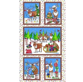 Reindeer Antics Cute Christmas Holiday 24x44 Cotton Fabric Panel