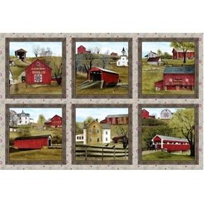 Picture of Headin' Home Amish Barns Scenic Blocks Sepia 24x44 Cotton Fabric Panel