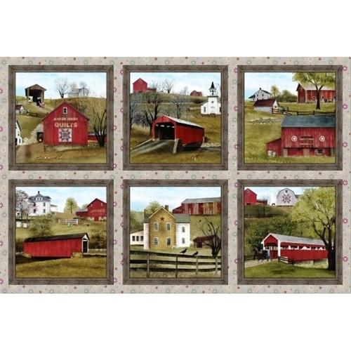 Headin Home Amish Barns Scenic Blocks Sepia 24x44 Cotton Fabric Panel