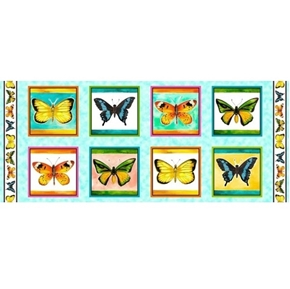 Picture of Fly Free Butterfly Picture Patches 18x44 Aqua Cotton Fabric Panel