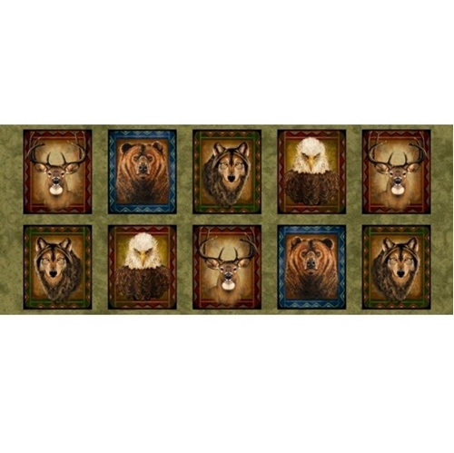 In The Wilderness Animal Picture Patches Olive 18x24 Cotton Fabric Panel