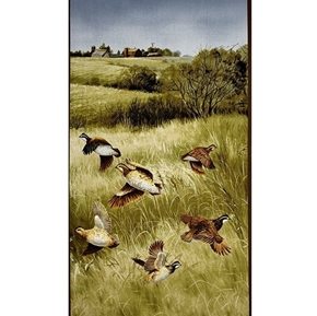 Quail Covey of Quail Flushed from the Grass 24x44 Cotton Fabric Panel
