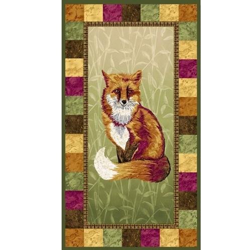 Pretty Foxy Red Orange Fox 24x44 Cotton Fabric Panel