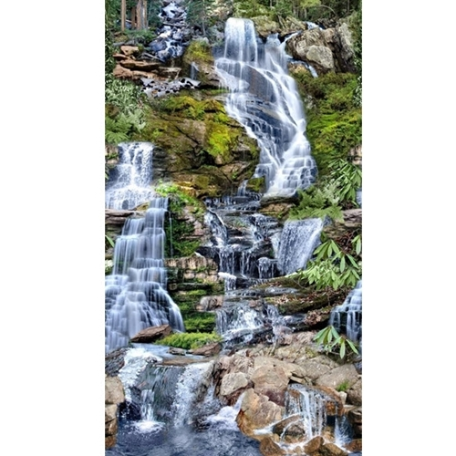 Waterfalls Mountain Stream Waterfall 24x44 Cotton Fabric Panel