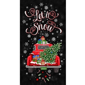 Let it Snow Christmas Red Truck 24x44 Cotton Fabric Panel