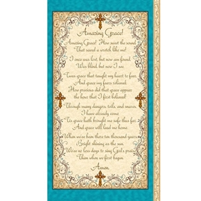 Amazing Grace Song Lyrics 24x44 Cotton Fabric Panel