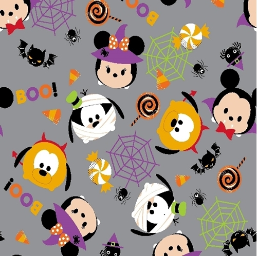 Flannel Disney Tsum Tsum Spec-stack-ular Halloween Gray Cotton Fabric
