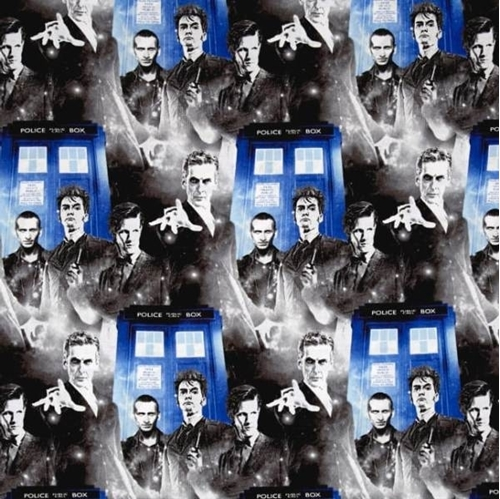 Doctor Who Police Public Call Box Phone Booth Blue Cotton Fabric