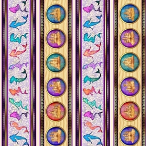 Sea Serenade Mermaid and Sand Castle Stripe Purple Cotton Fabric