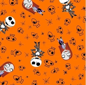 Flannel Nightmare Before Christmas Skulls Halloween Cotton Fabric