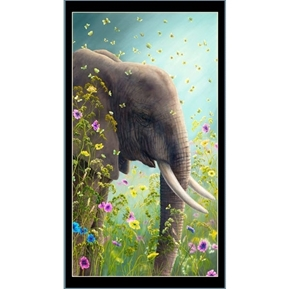 Artworks XII Elephant and Flowers 24x44 Cotton Fabric Panel