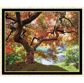 Artworks XII Old Tree by the Lake Colorful 24x44 Cotton Fabric Panel