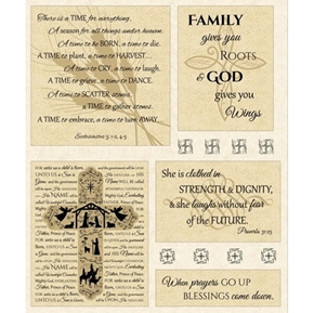 Bible Verse Religious Quotes Anniversary Large Cotton Fabric Panel