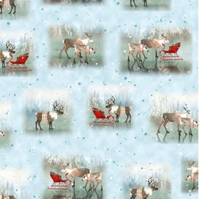 Lake Caribou Nordic Deer Vignettes Christmas Holiday Cotton Fabric