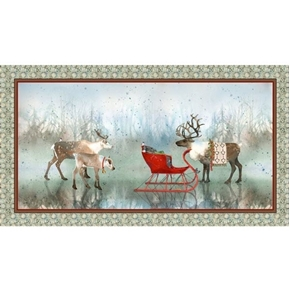 Lake Caribou Nordic Deer Christmas Holiday 24x44 Cotton Fabric Panel