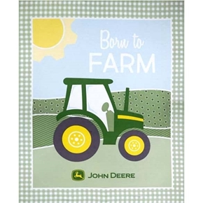 John Deere Nursery Born to Farm Large Cotton Fabric Panel