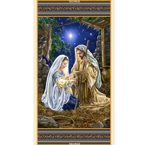 Christmas Nativity Mary Joseph Jesus 24x44 Digital Cotton Fabric Panel