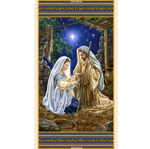 Christmas Nativity Mary Joseph Jesus 24x44 Digital Cotton Fabric Panel