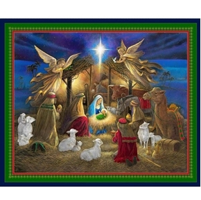 Picture of Holy Night Nativity Jesus Birth Christmas Manger Cotton Fabric Panel