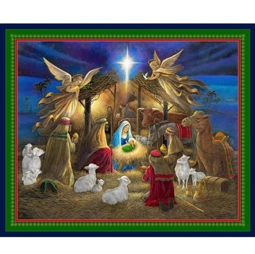 Christmas Jesus Birth Images.Holy Night Nativity Jesus Birth Christmas Manger Cotton Fabric Panel