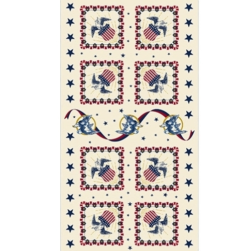 Salute Patriotic America American Eagles 23x44 Cotton Fabric Panel