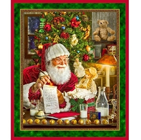 Santas List Santa Delivering Toys Christmas Eve Cotton Fabric Panel