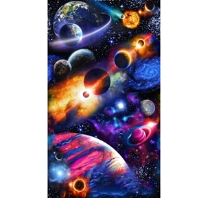 Solar System Planets in the Galaxy 24x44 Cotton Fabric Panel