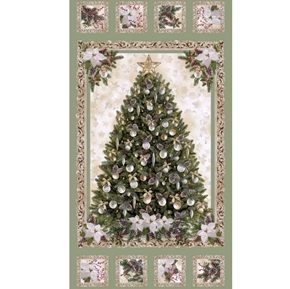 Christmas Tree White Poinsettia Silver Ornaments 24x44 Fabric Panel