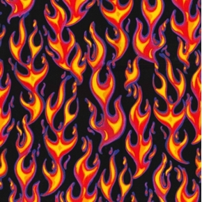 Hot Flames Yellow Red Orange Purple Flames on Black Cotton Fabric