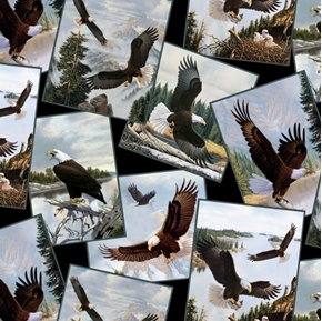 Majestic Bald Eagles Eagle Photographs Cotton Fabric