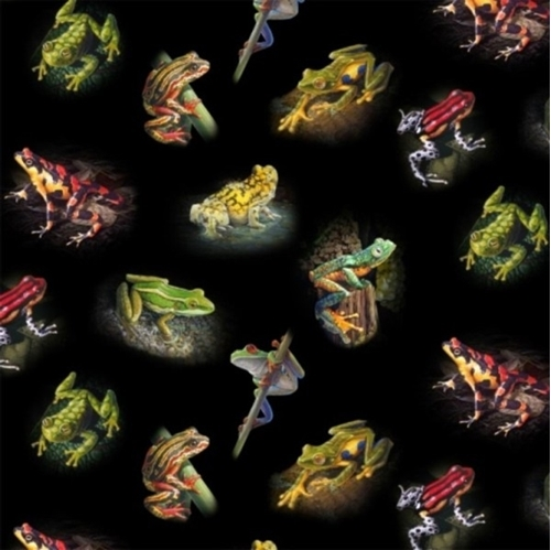 Amazing Frogs Colorful Tree Frog Amphibian Black Cotton Fabric