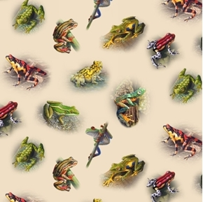 Amazing Frogs Colorful Tree Frog Amphibian Cream Cotton Fabric
