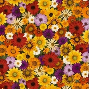 Landscape Medley Fall Flowers Zinnia Daisy Sunflower Cotton Fabric