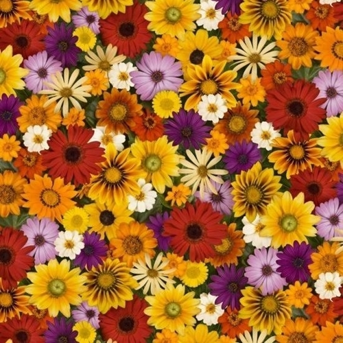Picture of Landscape Medley Fall Flowers Zinnia Daisy Sunflower Cotton Fabric
