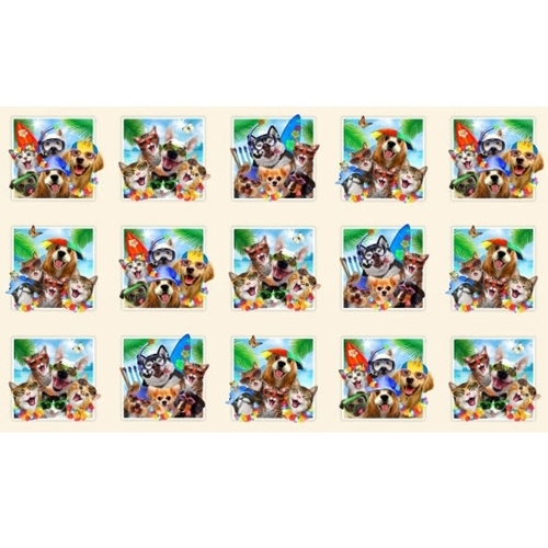 Beach Selfies Cute Cats and Dogs Scuba Surf 24x44 Cotton Fabric Panel