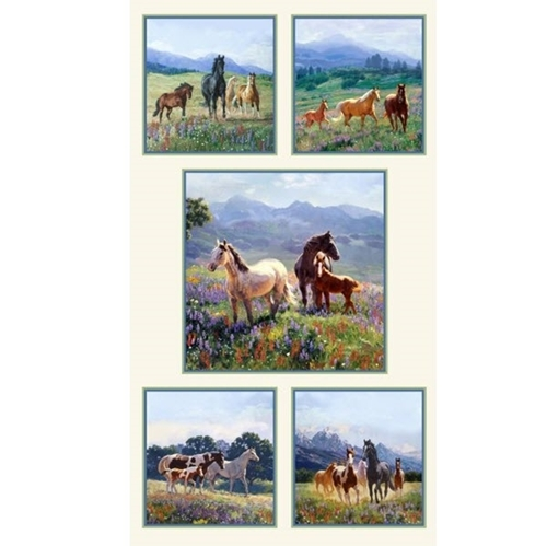 Wildflower Trails Wild Horses Mountain Flowers 24x44 Fabric Panel