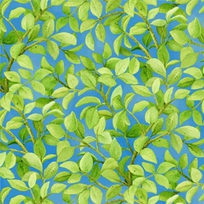 Freshwater Wildlife Green Leaves Vines on Blue Cotton Fabric