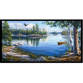 Blue Waters Lake Scene Canoeing Islands 24x44 Cotton Fabric Panel