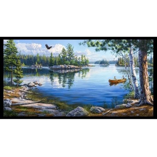 Blue Waters Lake Scene Canoeing Islands 24x44 Cotton Fabric Panel