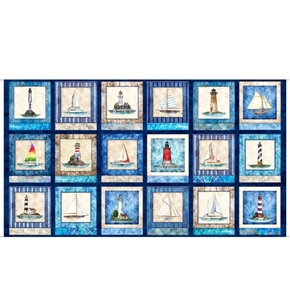 Picture of Smooth Sailing Nautical Patches Lighthouse Navy 24x44 Fabric Panel