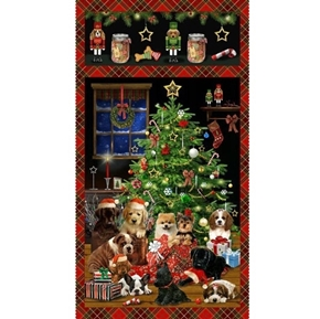 Fireside Pups Christmas Puppies Holiday Dogs 24x44 Cotton Fabric Panel