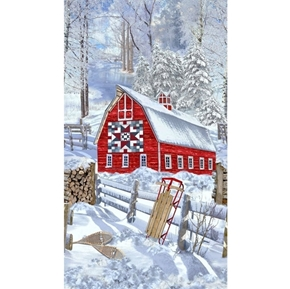 Country Holiday Winter Barn Snowy Woods 24x44 Cotton Fabric Panel