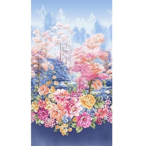 Garden Grandeur Floral Border Flower Garden 24x44 Cotton Fabric Panel