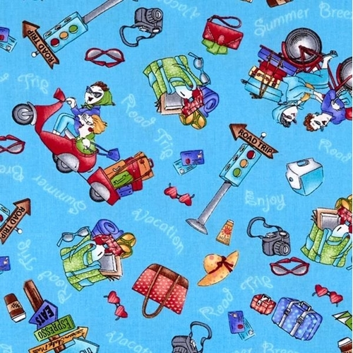 Road Trip Girls Vacation Travel Accessories Blue Cotton Fabric