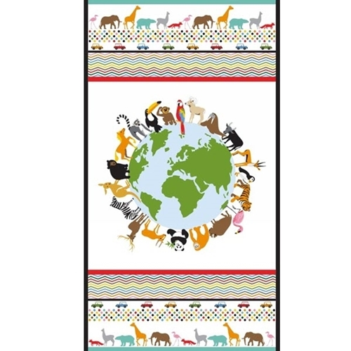 Little Explorers Animals of the Earth 24x44 Cotton Fabric Panel