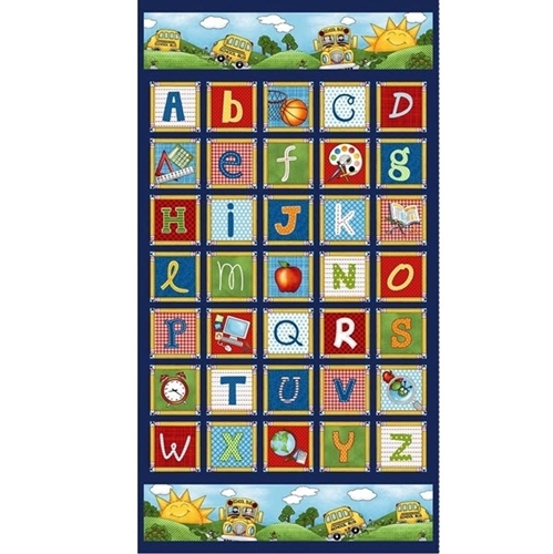 School Zone Alphabet ABC Letter Block 24x44 Cotton Fabric Panel