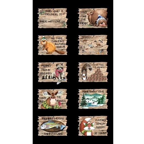 North Woods Neighbors Patch Fun Sayings 24x44 Cotton Fabric Panel