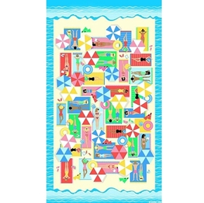 Just Beachy Sunbathing at the Beach 24x44 Cotton Fabric Panel