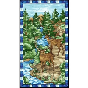 Mosaic Forest Stained Glass Deer 24x44 Cotton Fabric Panel