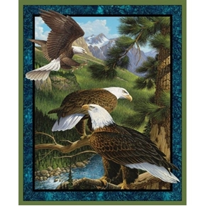 Wild Wings Flying High Eagles in the Wild Large Cotton Fabric Panel